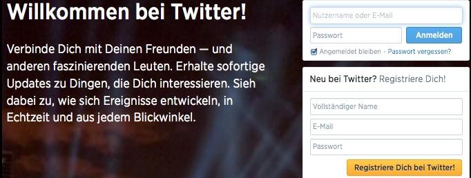 Screenshot: Anmeldemaske von Twitter.de