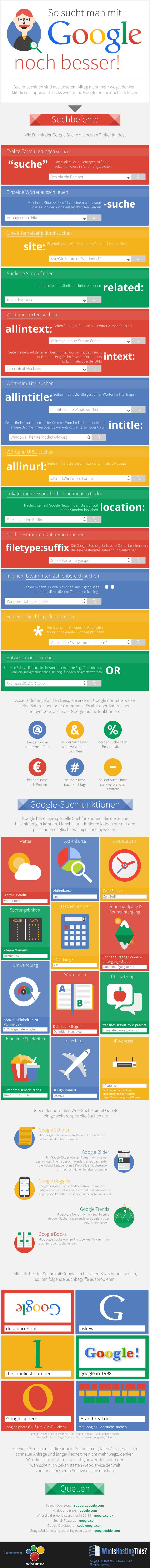 """© Infografik: """"How To Become A Google Power User"""" von whoishostingthis.com. Die deutsche Übersetzung der Grafik stammt von winfuture.de."""